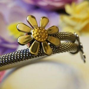 Daisy Cable Bracelet 2 tone Silver Gold Tones